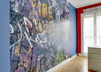 Décoration Chambre de garçon à Neuilly - Détail du graf, par Béatrice Elisabeth, Décoratrice UFDI à Neuilly et Paris