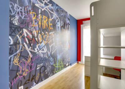 Décoration Chambre de garçon à Neuilly - Visuel graf de rue, par Béatrice Elisabeth, Décoratrice UFDI à Neuilly et Paris