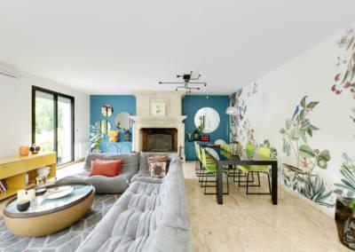 Décoration Maison à Marne la Coquette - La salon, canapé togo et la salle à manger, par Béatrice Elisabeth, Décoratrice UFDI à Neuilly et Paris