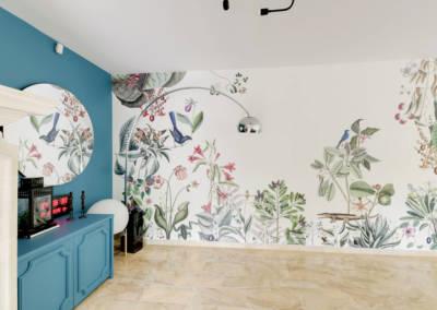 Décoration Maison à Marne la Coquette - La salon et son panoramique floral, par Béatrice Elisabeth, Décoratrice UFDI à Neuilly et Paris
