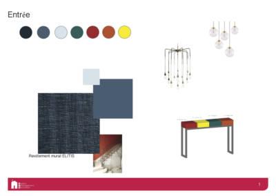 Décoration d'une maison à Garches - Book déco pour une entrée claire aux touches de couleurs, par Béatrice Elisabeth, Décoratrice UFDI à Neuilly et Paris