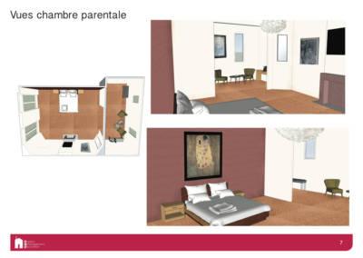 Décoration d'une maison à Garches - Simulation 3D de la chambre parentale, par Béatrice Elisabeth, Décoratrice UFDI à Neuilly et Paris