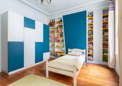 Décoration et suivi de chantier d'un appartement familial à Paris 17- Chambre de Jules, par Béatrice Elisabeth, Décoratrice UFDI à Neuilly et Paris