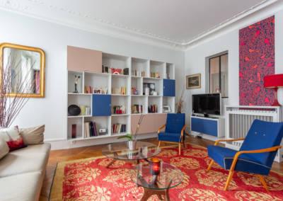 Décoration et suivi de chantier d'un appartement familial à Paris 17- Le Salon coloré, par Béatrice Elisabeth, Décoratrice UFDI à Neuilly et Paris