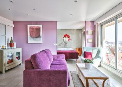 Rénovation appartement Paris 19 - Le salon avec vue vers la chambre, par Béatrice Elisabeth, Décoratrice UFDI à Neuilly et Paris