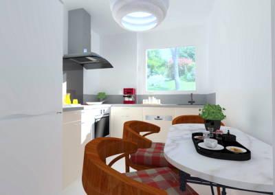 Rénovation appartement Paris 19ème - Simulation 3D de la cuisine, par Béatrice Elisabeth, Décoratrice UFDI à Neuilly et Paris