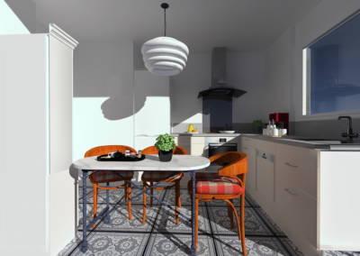 Rénovation appartement Paris 19ème - Simulation 3D de la cuisine - Le coin repas, par Béatrice Elisabeth, Décoratrice UFDI à Neuilly et Paris