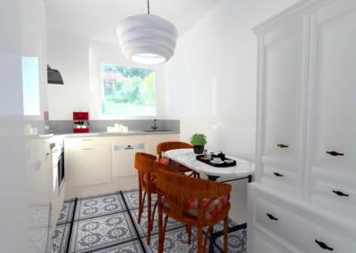 Rénovation appartement Paris 19ème - Simulation 3D de la cuisine - Lumineuse et fonctionnelle, par Béatrice Elisabeth, Décoratrice UFDI à Neuilly et Paris