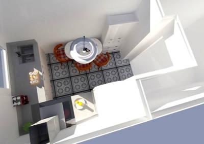Rénovation appartement Paris 19ème - Simulation 3D de la cuisine - Vue de dessus, par Béatrice Elisabeth, Décoratrice UFDI à Neuilly et Paris