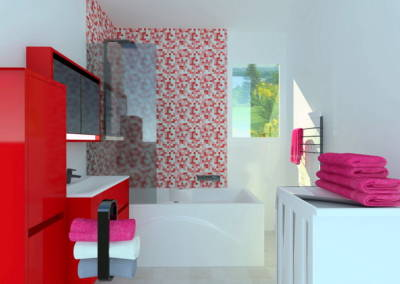 Rénovation appartement Paris 19ème - Simulation 3D de la salle de bain, par Béatrice Elisabeth, Décoratrice UFDI à Neuilly et Paris