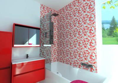Rénovation appartement Paris 19ème - Simulation 3D de la salle de bain - Détail du mobilier, par Béatrice Elisabeth, Décoratrice UFDI à Neuilly et Paris