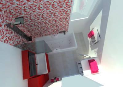 Rénovation appartement Paris 19ème - Simulation 3D de la salle de bain - Vue de dessus, par Béatrice Elisabeth, Décoratrice UFDI à Neuilly et Paris