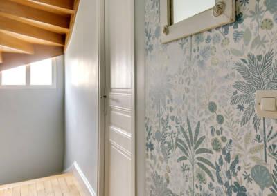 Visite conseil en décoration à Sartrouville - Le couloir et le détail du motif, par Béatrice Elisabeth, Décoratrice UFDI à Neuilly et Paris