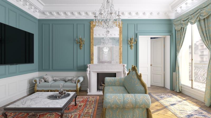 Appartement de style à Paris - Simulation 3D du Salon, par Béatrice Elisabeth, Décoratrice UFDI à Neuilly et Paris