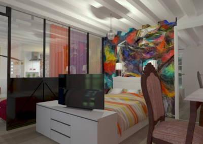 Rénovation deux pièces à Puteaux - Chambre à la tête de lit multicolore, par Béatrice Elisabeth, Décoratrice UFDI à Neuilly et Paris