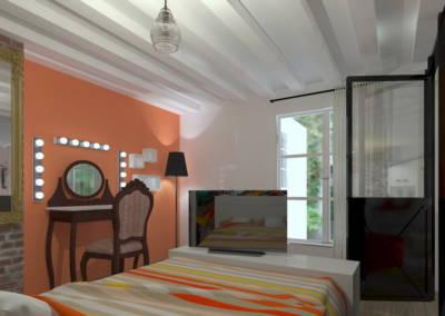 Rénovation deux pièces à Puteaux - Chambres aux tonalités orange, par Béatrice Elisabeth, Décoratrice UFDI à Neuilly et Paris