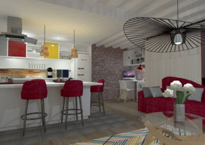 Rénovation deux pièces à Puteaux - Simulation 3D de la banque Cuisine, par Béatrice Elisabeth, Décoratrice UFDI à Neuilly et Paris