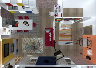 Rénovation deux pièces à Puteaux - Simulation 3D en vue de dessus, par Béatrice Elisabeth, Décoratrice UFDI à Neuilly et Paris