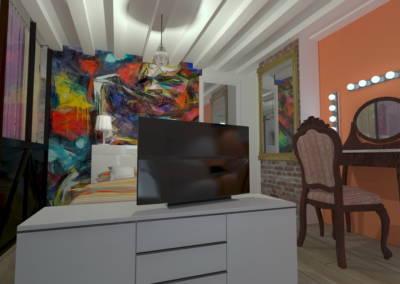 Rénovation deux pièces à Puteaux - Simulation 3D la chambre, par Béatrice Elisabeth, Décoratrice UFDI à Neuilly et Paris