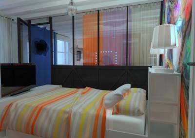 Rénovation deux pièces à Puteaux - Verrière dans une chambre, par Béatrice Elisabeth, Décoratrice UFDI à Neuilly et Paris