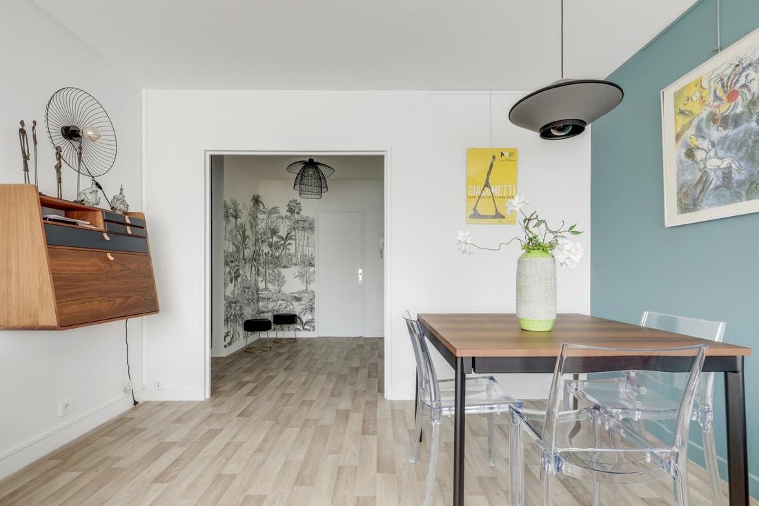 Décoration d'un appartement aux Buttes Chaumont - La salle à manger-bureau, par Béatrice Elisabeth, Décoratrice UFDI à Neuilly et Paris