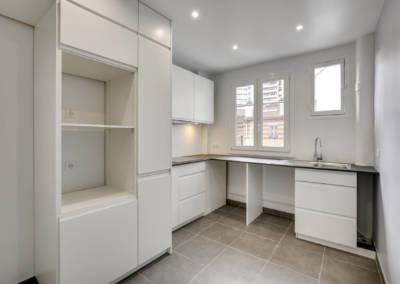 Rénovation appartement à Courbevoie - La cuisine prête à recevoir l'électromenager, par Béatrice Elisabeth, Décoratrice UFDI à Neuilly et Paris