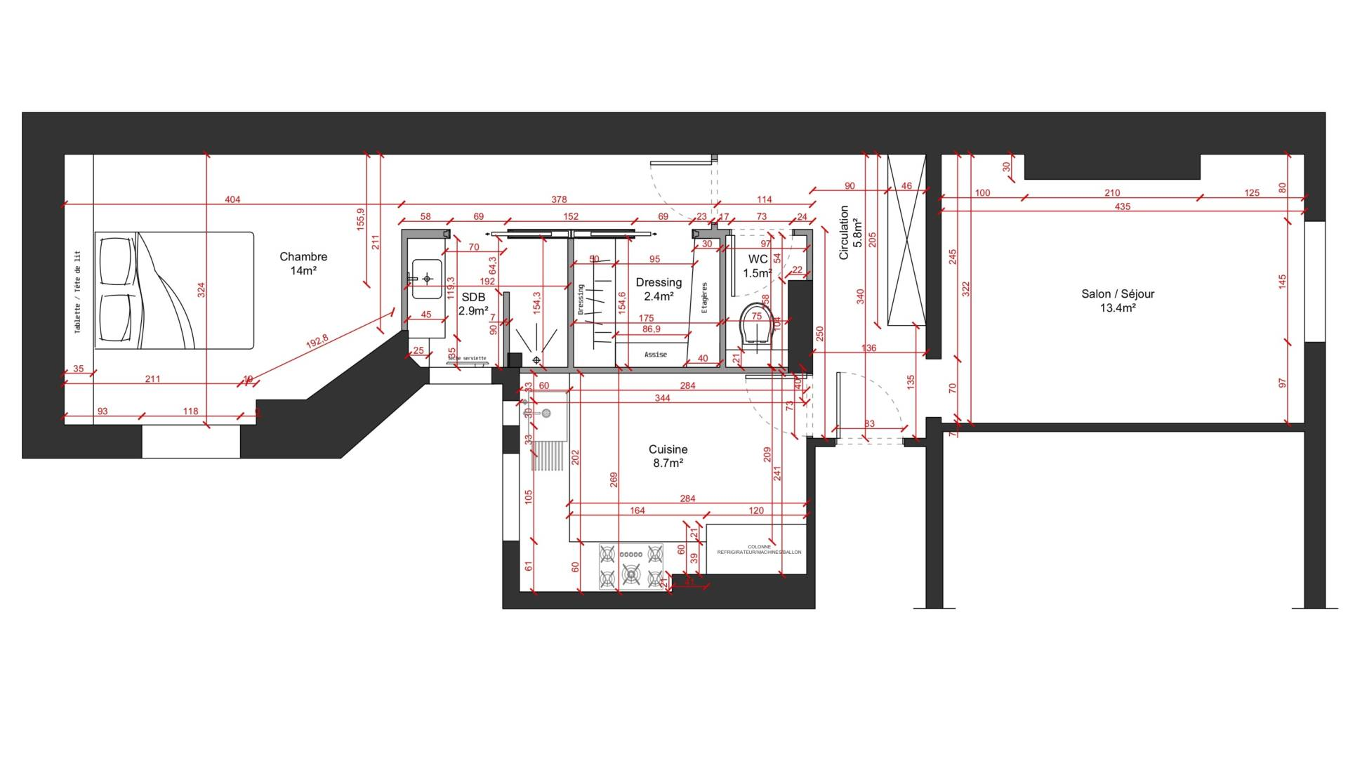 Rénovation appartement à Courbevoie - Plans 2D, par Béatrice Elisabeth, Décoratrice UFDI à Neuilly et Paris