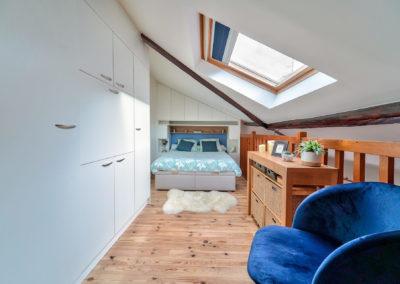 Décoration Appartement à Suresnes - Etage - La chambre et ses rangements, par Béatrice Elisabeth, Décoratrice UFDI à Neuilly et Paris