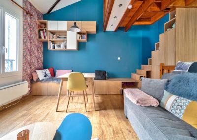 Décoration Appartement à Suresnes - Rez de Chaussée - Perspective sur le bureau intégré, par Béatrice Elisabeth, Décoratrice UFDI à Neuilly et Paris