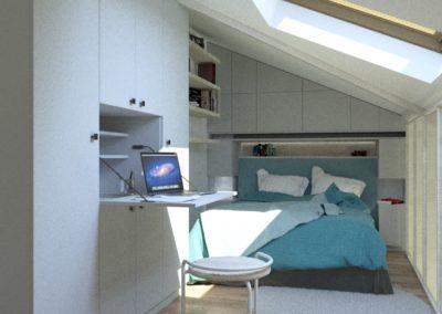Décoration Appartement à Suresnes - Simulation 3D - Etage - La chambre et son bureau escamotable dans les rangements, par Béatrice Elisabeth, Décoratrice UFDI à Neuilly et Paris