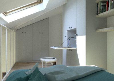 Décoration Appartement à Suresnes - Simulation 3D - Etage - La chambre et son bureau intégré, par Béatrice Elisabeth, Décoratrice UFDI à Neuilly et Paris