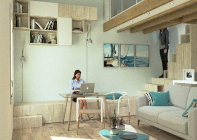 Décoration Appartement à Suresnes - Simulation 3D - Rez de chaussée - le bureau et son banc escalier, par Béatrice Elisabeth, Décoratrice UFDI à Neuilly et Paris