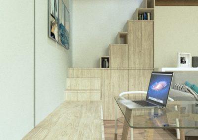 Décoration Appartement à Suresnes - Simulation 3D - Rez de chaussée - vue sur escalier aménagé, par Béatrice Elisabeth, Décoratrice UFDI à Neuilly et Paris
