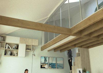 Décoration Appartement à Suresnes - Simulation 3D - Rez de chaussée - vue sur mezzanine, par Béatrice Elisabeth, Décoratrice UFDI à Neuilly et Paris