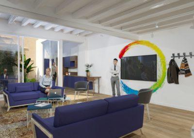 Espace de Formation Paris 12 - Simulation 3D du grand salon de travail, par Béatrice Elisabeth, Décoratrice UFDI à Neuilly et Paris