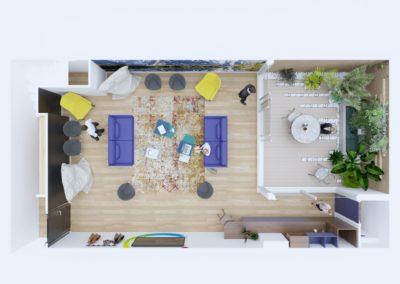 Espace de Formation Paris 12 - Simulation 3D du grand salon de travail avec le jardin en version ouverte, par Béatrice Elisabeth, Décoratrice UFDI à Neuilly et Paris