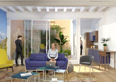Espace de Formation Paris 12 - Simulation 3D du grand salon de travail avec vue sur le patio, par Béatrice Elisabeth, Décoratrice UFDI à Neuilly et Paris