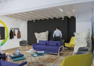 Espace de Formation Paris 12 - Simulation 3D du grand salon de travail et sa belle charpente, par Béatrice Elisabeth, Décoratrice UFDI à Neuilly et Paris