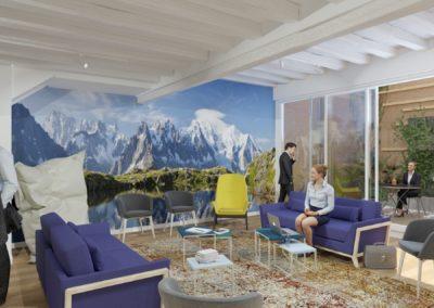 Espace de Formation Paris 12 - Simulation 3D du grand salon de travail et son panoramique montagnard, par Béatrice Elisabeth, Décoratrice UFDI à Neuilly et Paris