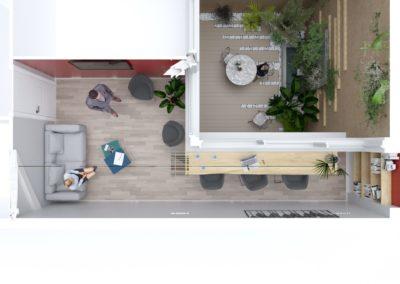 Espace de Formation Paris 12 - Simulation 3D du jardin vue de dessus, par Béatrice Elisabeth, Décoratrice UFDI à Neuilly et Paris