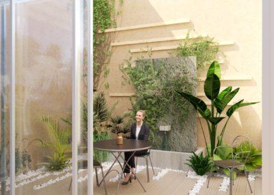 Espace de Formation Paris 12 - Simulation 3D du patio en version A, par Béatrice Elisabeth, Décoratrice UFDI à Neuilly et Paris