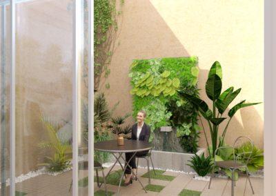 Espace de Formation Paris 12 - Simulation 3D du patio en version B, par Béatrice Elisabeth, Décoratrice UFDI à Neuilly et Paris