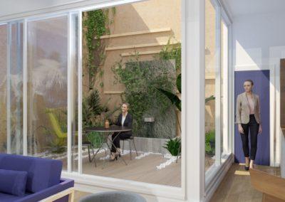 Espace de Formation Paris 12 - Simulation 3D du patio jardin, par Béatrice Elisabeth, Décoratrice UFDI à Neuilly et Paris