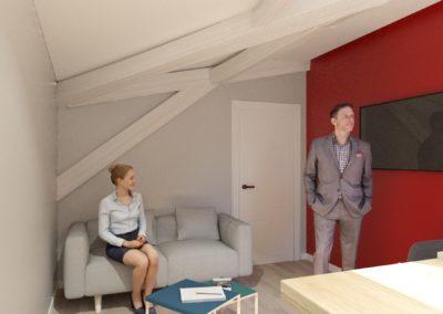 Espace de Formation Paris 12 - Simulation 3D du petit salon, par Béatrice Elisabeth, Décoratrice UFDI à Neuilly et Paris