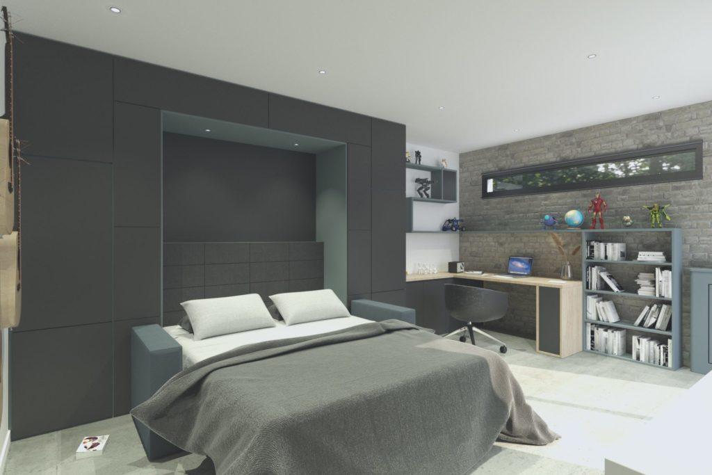 Simulation 3D projet studio à Boulogne - vue du canapé-lit ouvert avec le bureau, par Béatrice Elisabeth, Décoratrice UFDI à Neuilly et Paris