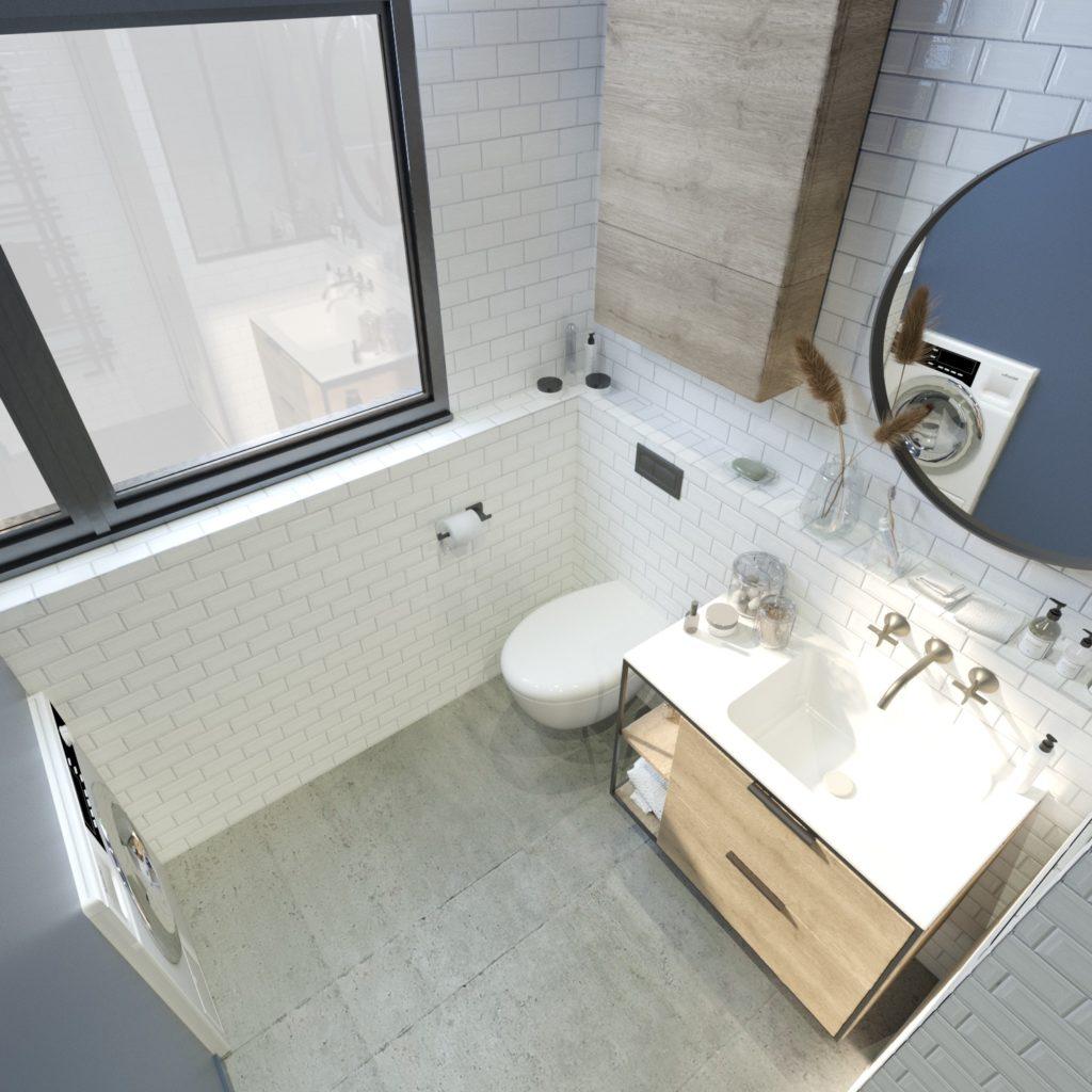 Simulation 3D projet studio à Boulogne - salle d'eau, par Béatrice Elisabeth, Décoratrice UFDI à Neuilly et Paris