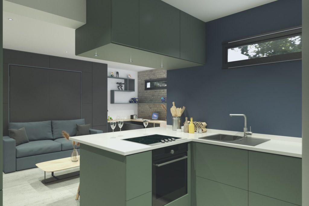 Simulation 3D projet studio à Boulogne - vue cuisine salon, par Béatrice Elisabeth, Décoratrice UFDI à Neuilly et Paris