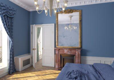 Appartement de style à Paris 7ème - Simulation 3D de la chambre, par Béatrice Elisabeth, Décoratrice UFDI à Neuilly et Paris