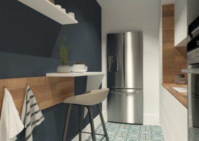 Appartement de style à Paris 7ème - Simulation 3D de la cuisine en couloir avec carreaux de ciments, par Béatrice Elisabeth, Décoratrice UFDI à Neuilly et Paris