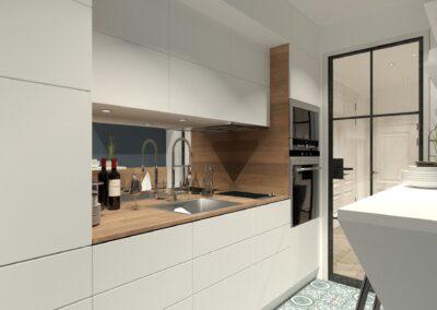 Appartement de style à Paris 7ème - Simulation 3D de la cuisine intégrée sobre et moderne, par Béatrice Elisabeth, Décoratrice UFDI à Neuilly et Paris